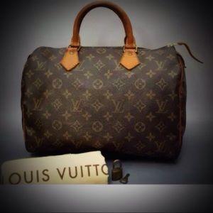 Authentic Louis Vuitton-Speedy30 Monogram Handbag